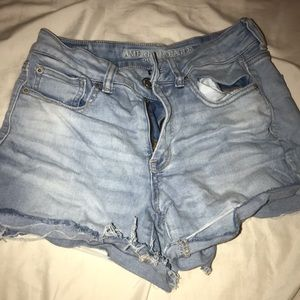 high rise light wash american eagle short